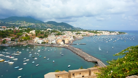 bird 's eye view: view of Ischia Ponte, Ischia island, Italy