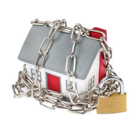 House modell műanyag lánc és lakat biztonsági koncepció