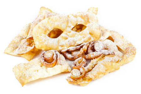 crostoli: typical dessert Italian carnival, chiacchiere fries on white.