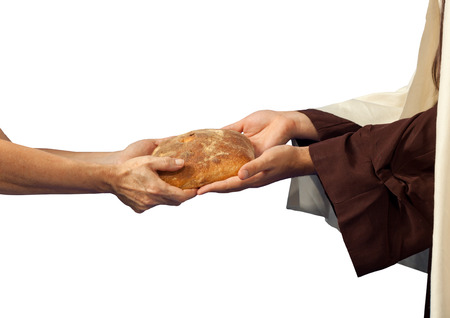 Jesus gives the bread to a beggar on white background photo