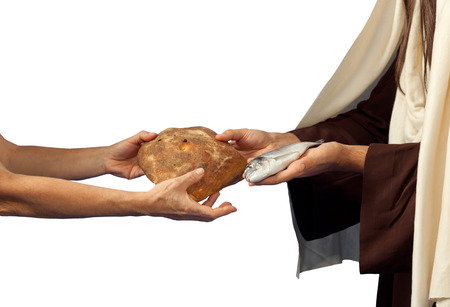 Jesus gives bread and fish on white background photo