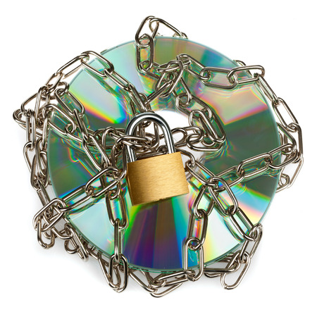 Locked CD isolated on a white background photo