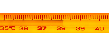 exceeding: Mercury thermometer with temperatures exceeding 38 degrees celsius Stock Photo