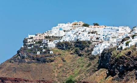 fira: Large view of Imerovigli village in Santorini, Greece  Stock Photo