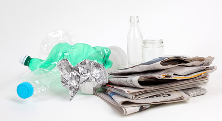 biodegradable material: Recycling garbage and reusable waste management as metal, plastic, old paper products to be reused