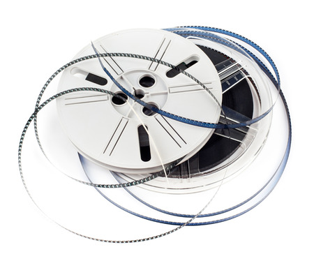 super 8: Vintage Super 8 film reel isolated on white