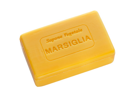glycerin soap: Bar of natural soap of marsiglia isolated on white