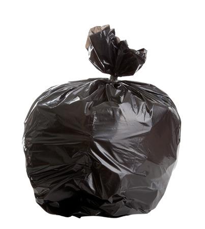 白い背景に黒いゴミ袋