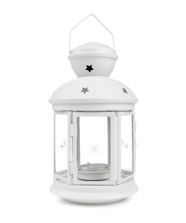 White decorative lantern in the old style. photo