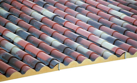 polyurethane: Prefabricated roof polyurethane foam isolated on white