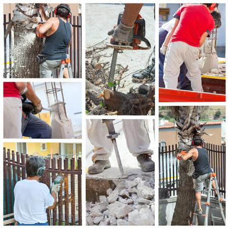 Pre�lufthammer: Collage der Arbeitnehmer bei der Arbeit mit Flex, Kettens�gen und Presslufthammer.