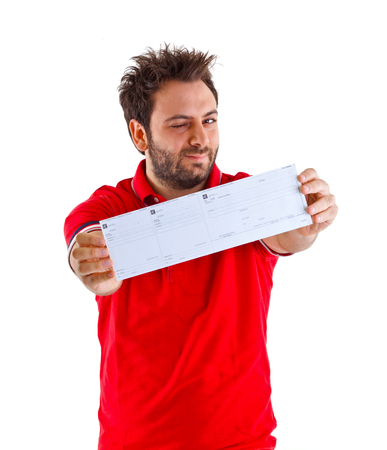 Young man showing the italian money order. photo