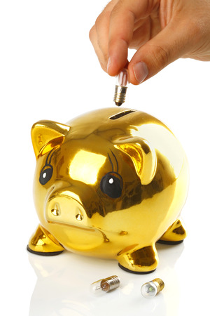 Golden piggy bank with small light bulbs on white background photo