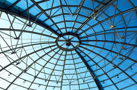 Dome with blue sky in a shopping mall.