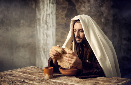 jesus word: The Last Supper, Jesus breaks the bread  Stock Photo