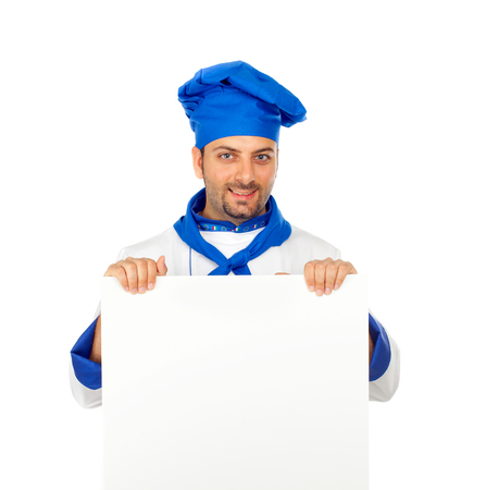 Chef with blank billboard on white background photo