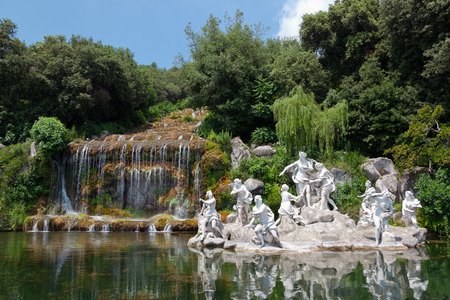 lady diana: Fountain of Diana and Actaeon and The Big Waterfal. Mythological statues of nymphs in the garden Royal Palace in Caserta. Stock Photo