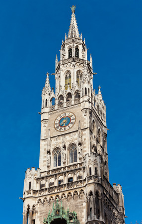 bayern old town: Top of Munich city hall bell tower in Bavaria, Germany