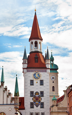 Famous Zodiac Clock Tower on the facade of the old town hall, Marienplatz, Munich