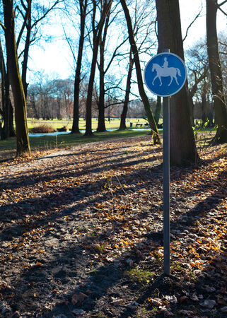 English Garden, path reserved for the transit of horses, Munich, Germany. photo
