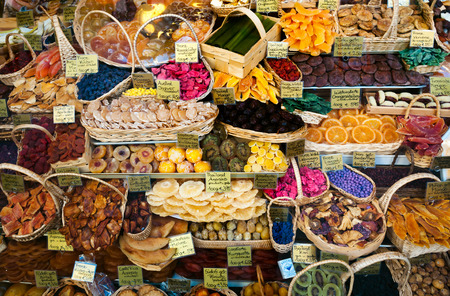 Shop of dried fruit, Munich, Bavaria, Germany.