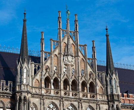 Munich, Gothic City Hall Facade Details, Bavaria, Germany photo