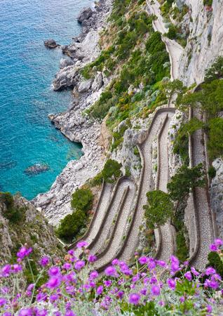 Capri island, famous road Via Krupp on the mountains  photo