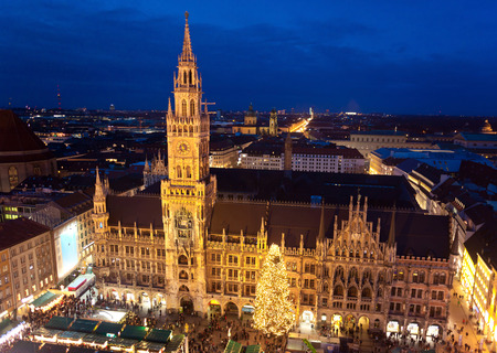 market hall: Aerial image of Munich with Christmas Market, Germany. Stock Photo