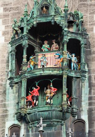 Glockenspiel on the Munich city hall, Germany.