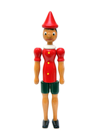 pinocchio: Pinocchio Toy Statue isolated on white Background Stock Photo