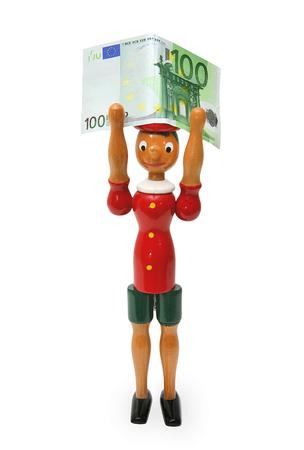 collodi: Pinocchio with 100 euro isolated on white Background
