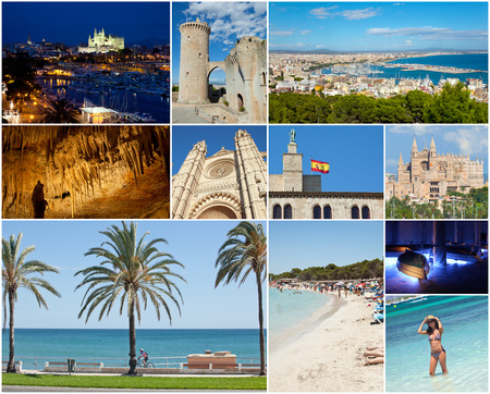 Collage of Palma De Mallorca with the major attractions.