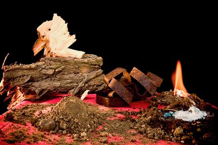 Five Elements, wood, clay, iron, fire, water, Tai Taijiquan concept photo