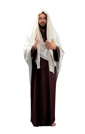 Jesus Christ full length on white background. Archivio Fotografico