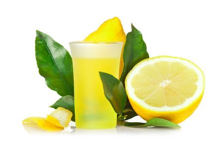 Limoncello, Italian liqueur lemon on white background.
