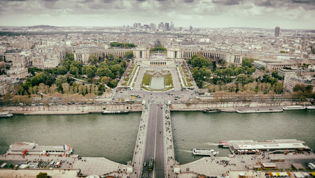 Panorama of Paris, the Trocadero and La Defense from the top platform of the Eiffel Tower. photo