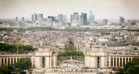 trocadero: Panorama of Paris, the Trocadero and La Defense from the top platform of the Eiffel Tower.