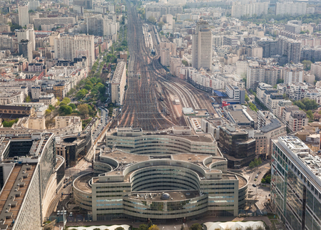 Aerial view of railway station, Paris, France. photo