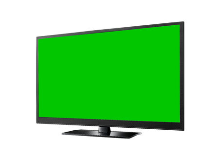 flat screen tv: TV with green flat wide screen isolated on white Stock Photo
