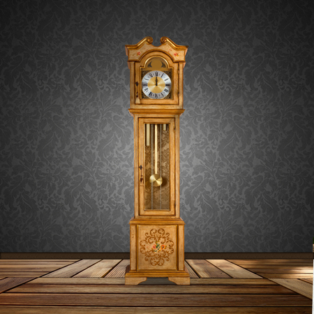 Old grandfather clock isolated in a empty room. photo