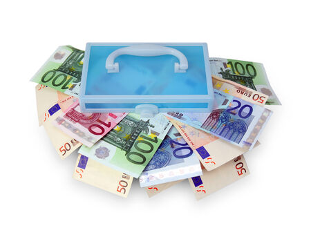 Plastic box with euro banknotes on white background. photo