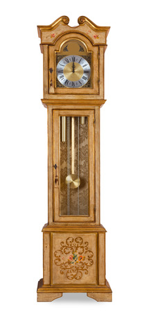 Old grandfather clock isolated on white background photo