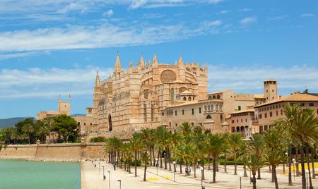 palma: Majorca La seu Cathedral and Almudaina from Palma de Mallorca in Spain Stock Photo