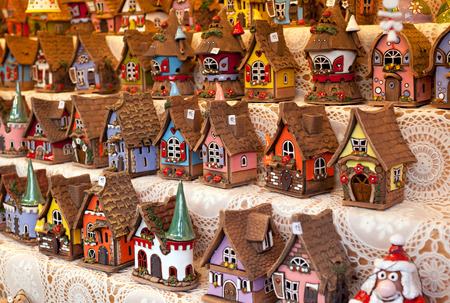Sale of reproductions of small houses typical German in christmas market.