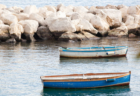 fishing rig: Old fishing boats in the Gulf of Naples.