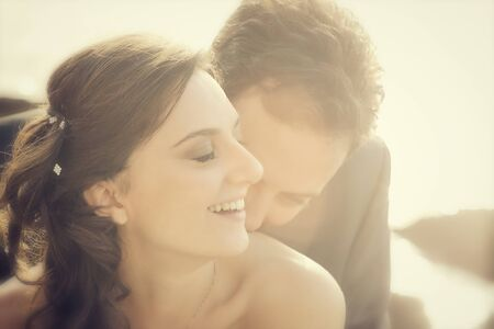 Portrait of married couple in day of their wedding. photo