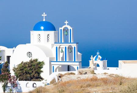 Santorini, Pyrgos, typical church with blue cupola