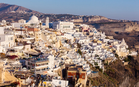 fira: View of Fira in the evening on Santorini, Greece.