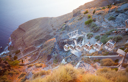 Mountainside cableway in Fira, Santorini island, Greece. photo