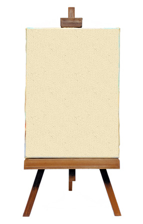Old Easel with canvas isolated on white background Stock Photo